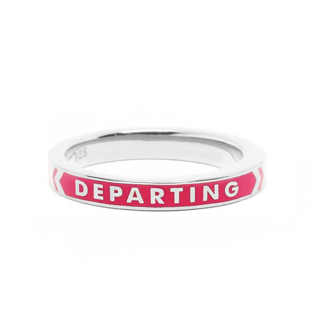 Pink Enamel Ring in Silver, Arriving Departing - JET SET CANDY