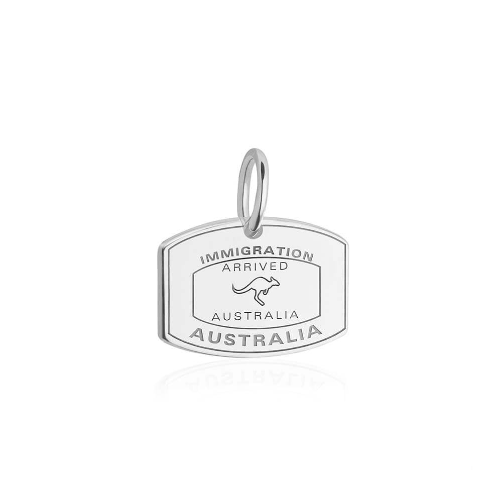 Sterling Silver Australia Charm, Passport Stamp - JET SET CANDY
