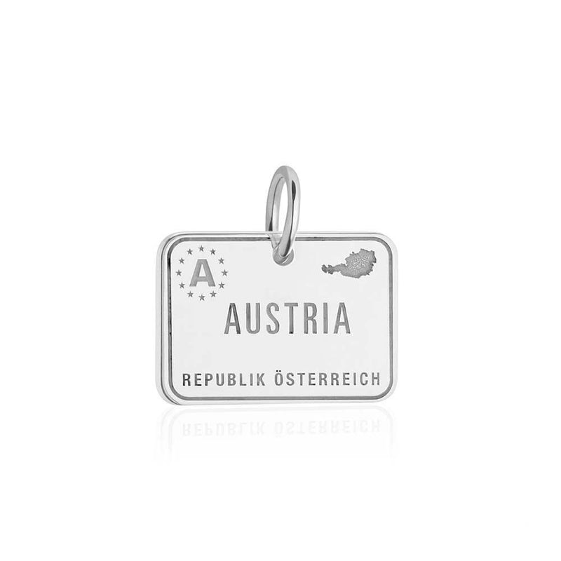 Sterling Silver Austria Passport Stamp - JET SET CANDY