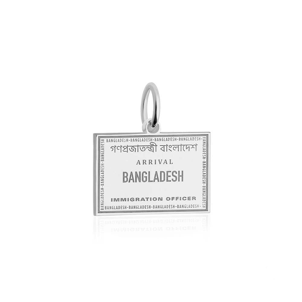 Sterling Silver Travel Charm, Bangladesh Passport Stamp - JET SET CANDY