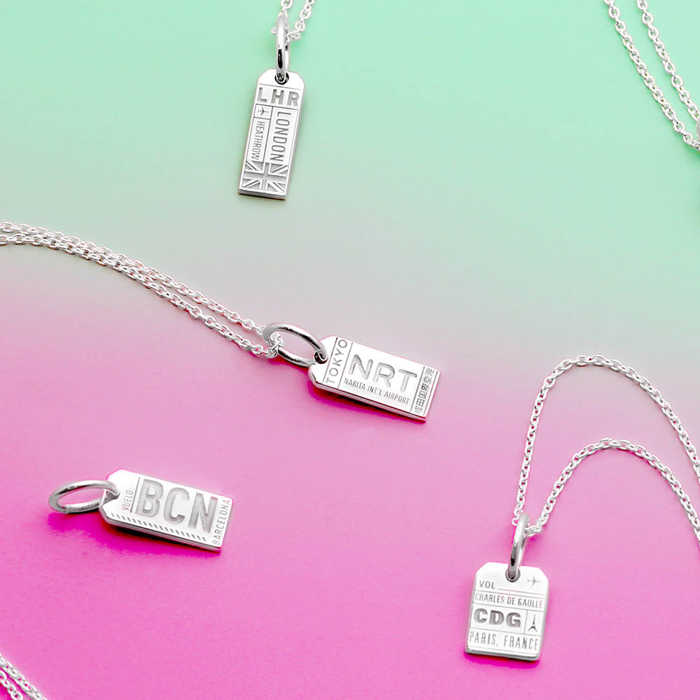 Mini Silver Barcelona, Spain Necklace, BCN Luggage Tag Charm - JET SET CANDY