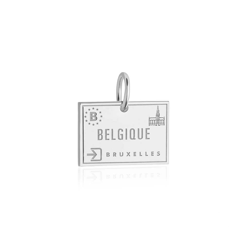Sterling Silver Travel Charm, Belgium Passport Stamp - JET SET CANDY