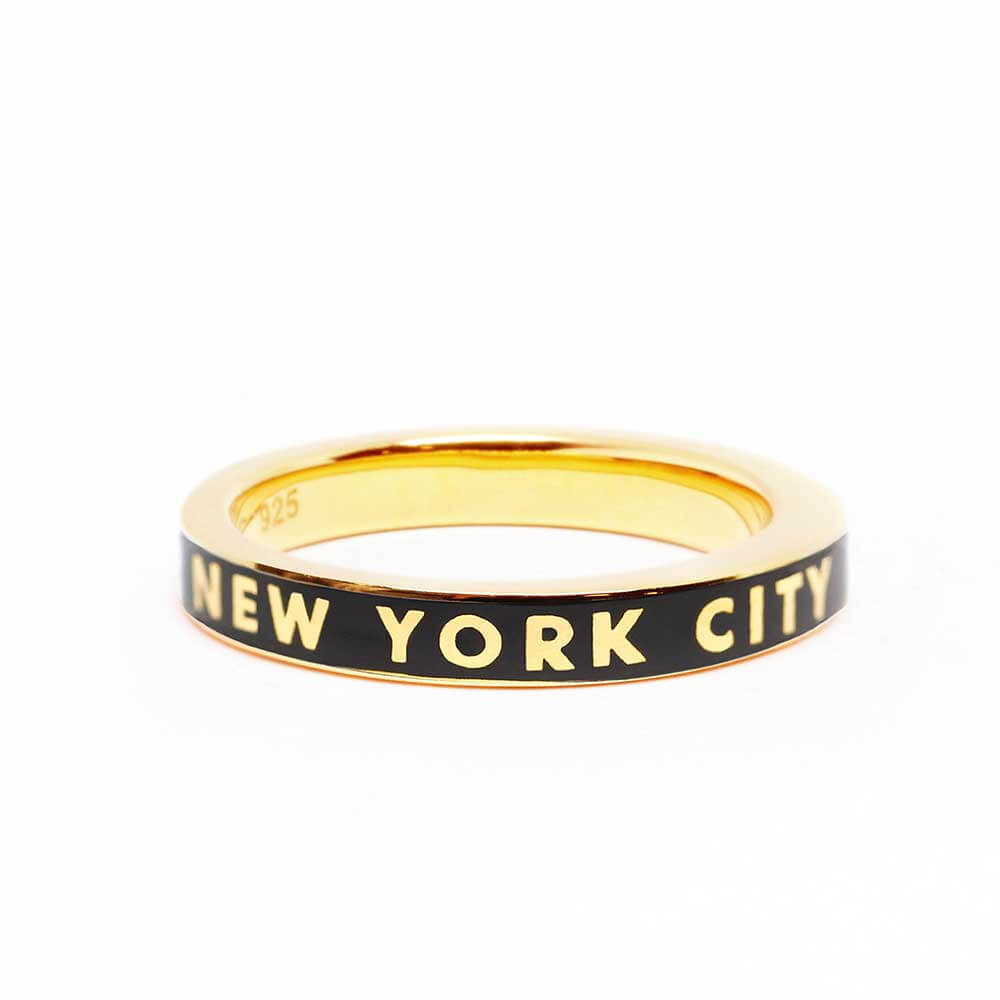 Black Enamel New York City Gold Ring - JET SET CANDY