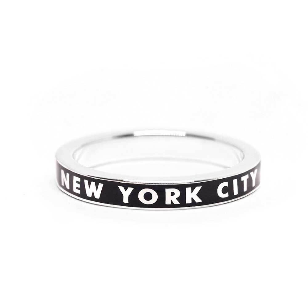 Black Enamel New York City Silver Ring - JET SET CANDY