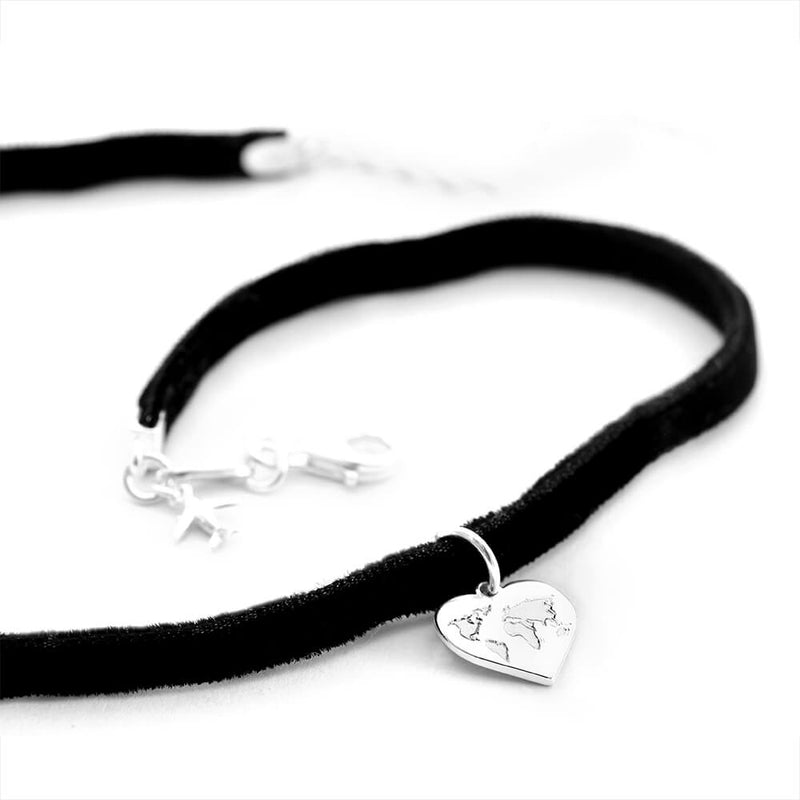 Sterling Silver Heart Map Charm with Choker