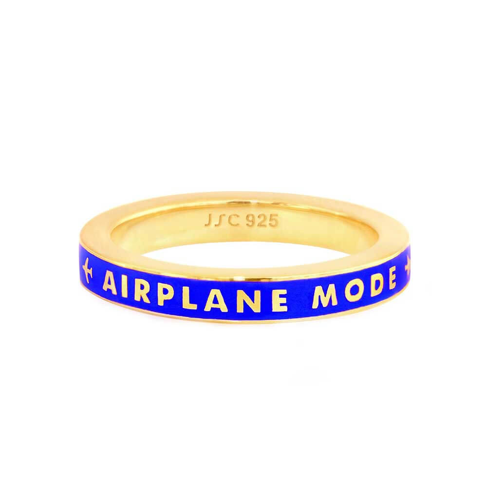 Blue Enamel Ring in Gold, Airplane Mode - JET SET CANDY