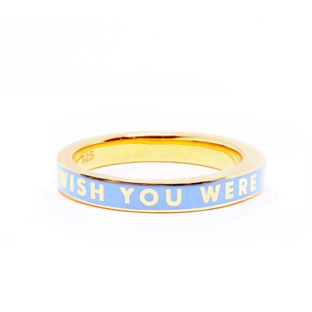 "Blue Enamel Gold Travel-Inspired Ring ""Wish You Were Here"" (BACK ORDER-SHIPS APRIL) - JET SET CANDY"