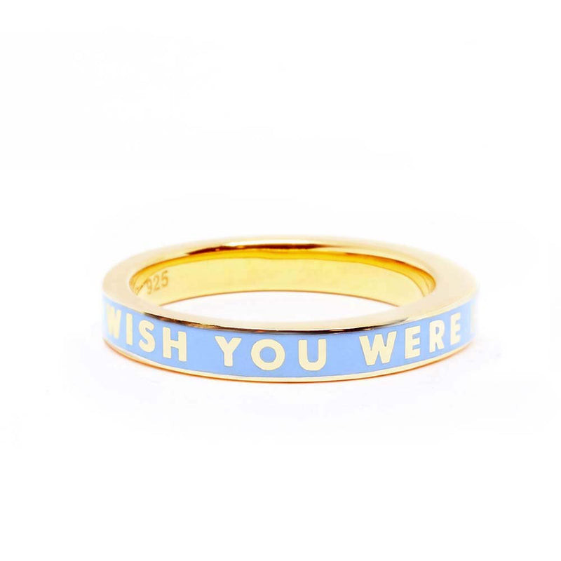 "Blue Enamel Gold Travel-Inspired Ring ""Wish You Were Here"" (BACK ORDER-SHIPS LATE MARCH) - JET SET CANDY"