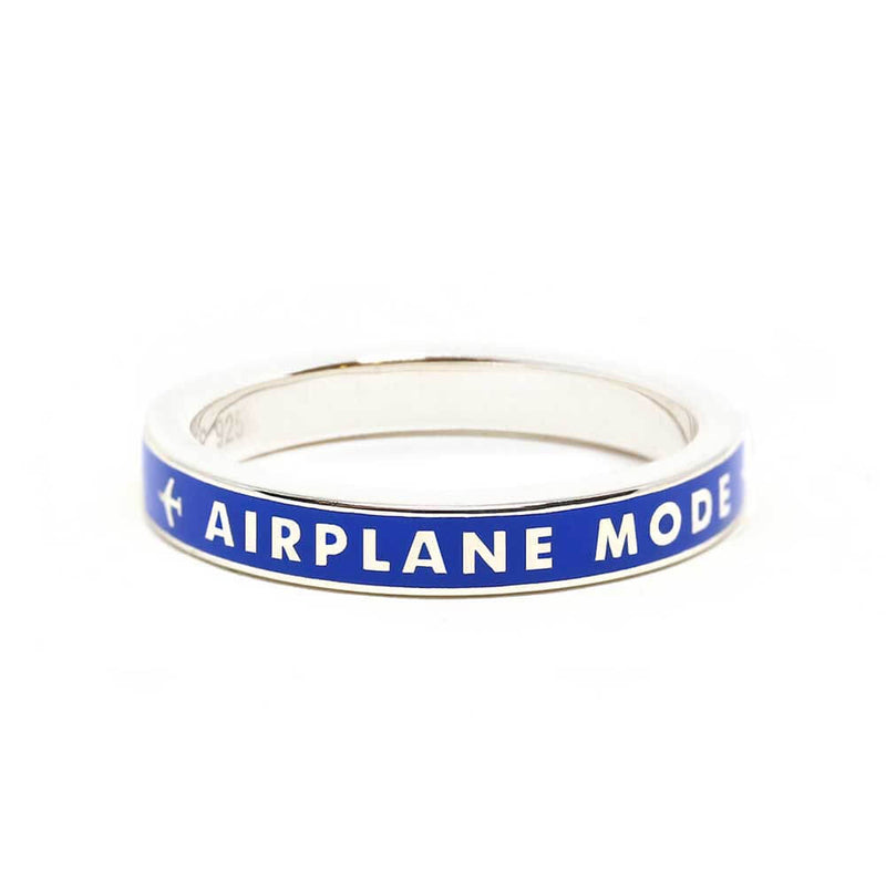 Blue Enamel Ring in Silver, Airplane Mode - JET SET CANDY
