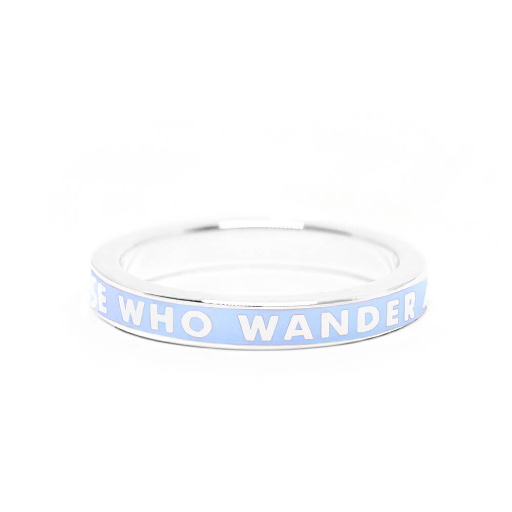"Blue Enamel Silver ""Not All Those That Wander Are Lost"" Ring"