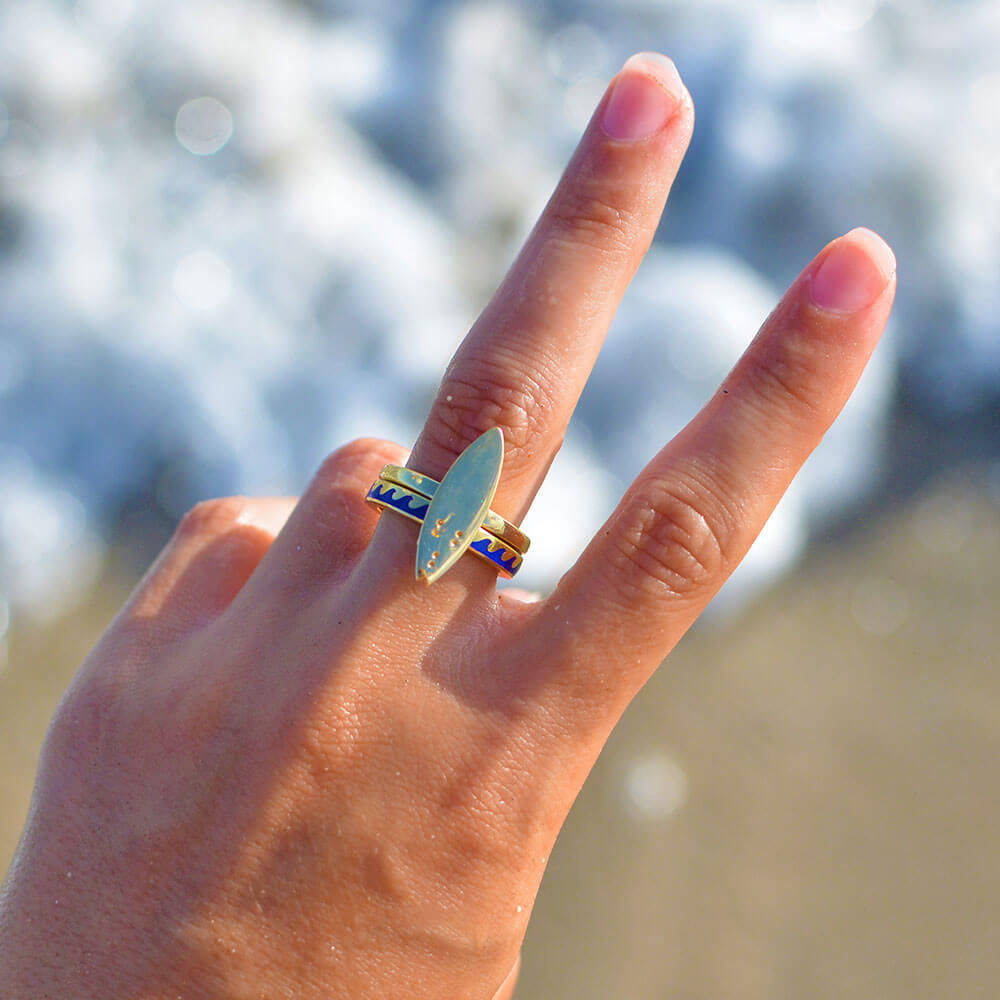 Gold Surfboard Ring - JET SET CANDY