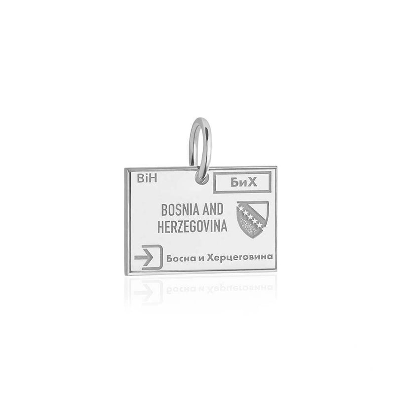 Sterling Silver Charm, Bosnia and Herzegovina Passport Stamp (SHIPS JUNE) - JET SET CANDY