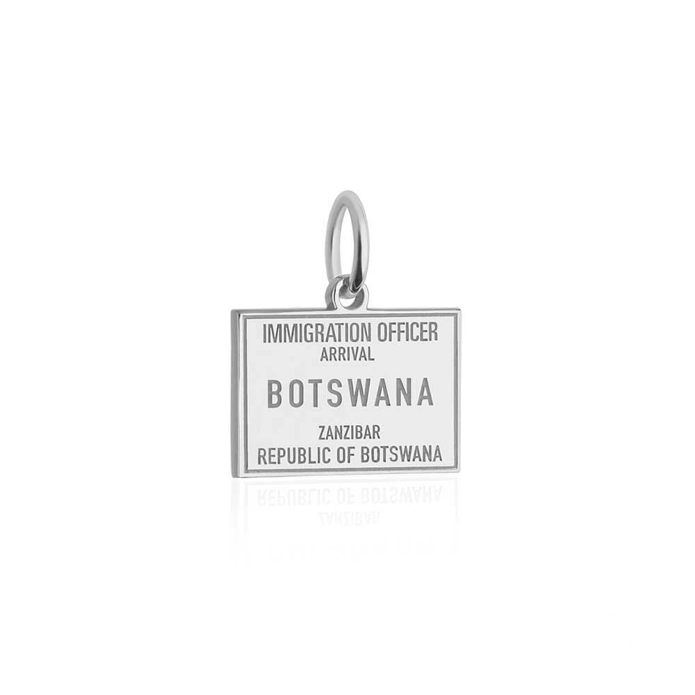 Sterling Silver Travel Charm, Botswana Passport Stamp - JET SET CANDY