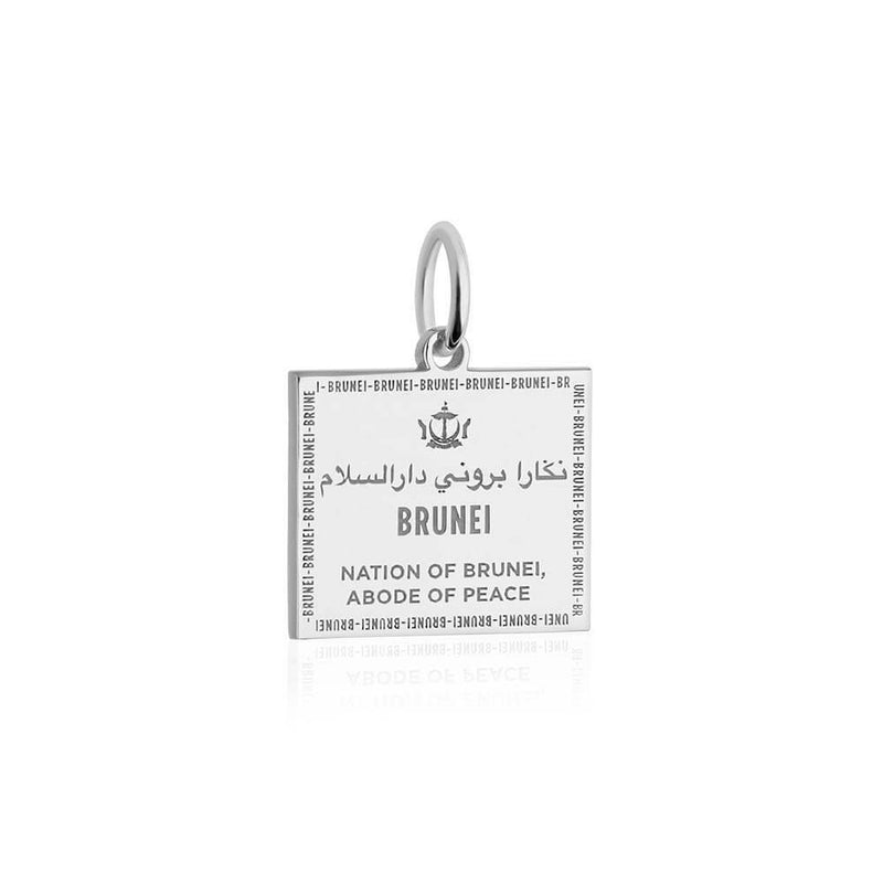 Sterling Silver Travel Charm, Brunei Passport Stamp - JET SET CANDY