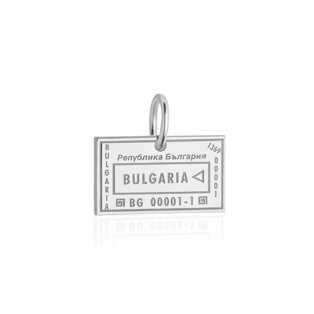 Sterling Silver Travel Charm, Bulgaria Passport Stamp - JET SET CANDY