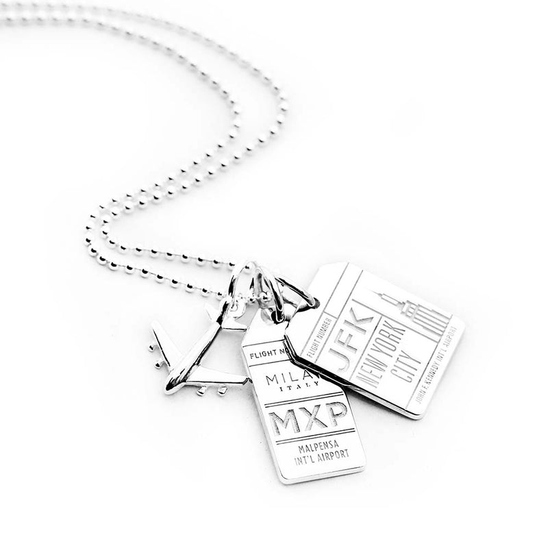 "18"" SILVER BALL CHAIN WITH 2 LUGGAGE TAG CHARMS (MINI PLANE SHIPS APRIL) - JET SET CANDY"