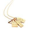 "20"" GOLD BALL CHAIN WITH 3 LUGGAGE TAG CHARMS (SHIPS JUNE) - JET SET CANDY"