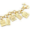 GOLD CHARM BRACELET WITH 5 LUGGAGE TAG CHARMS