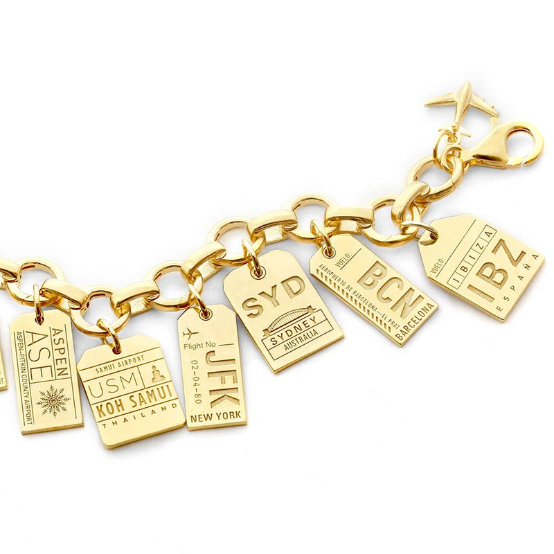 GOLD CHARM BRACELET WITH 12 LUGGAGE TAG CHARMS (MINI PLANE SHIPS JUNE) - JET SET CANDY