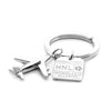 KEYRING WITH SILVER AIRPLANE AND 1 LUGGAGE TAG CHARM - JET SET CANDY