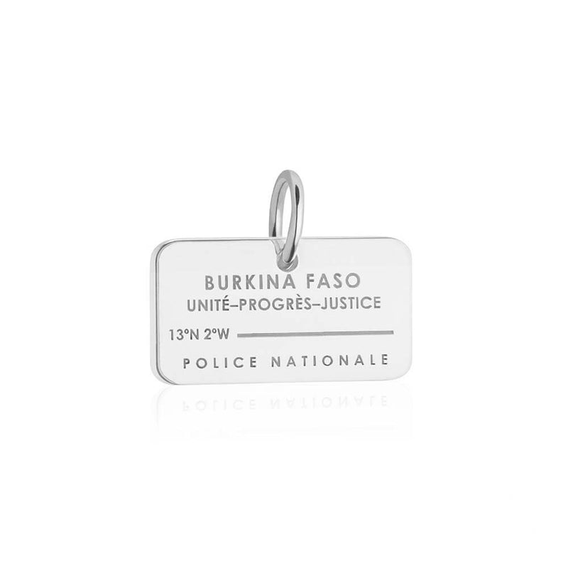 Sterling Silver Travel Charm, Burkina Faso Passport Stamp - JET SET CANDY