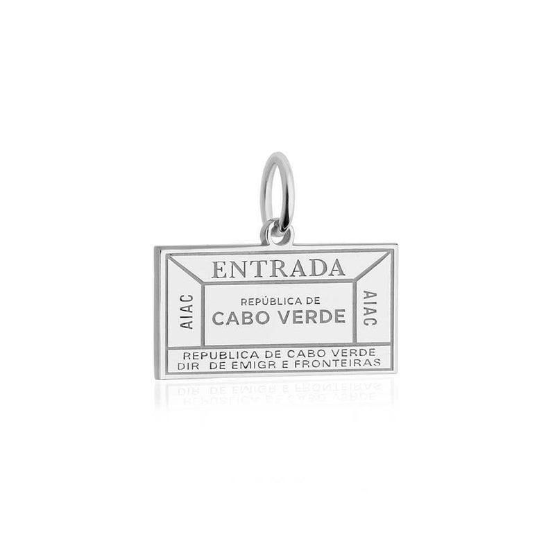 Sterling Silver Travel Charm, Cabo Verde Passport Stamp - JET SET CANDY