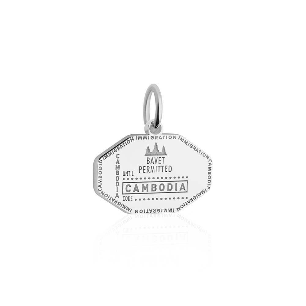 Sterling Silver Travel Charm, Cambodia Passport Stamp - JET SET CANDY