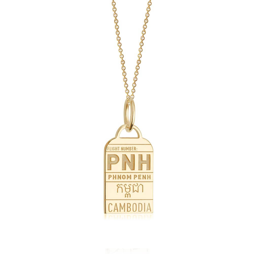 Gold Cambodia Charm, PNH Phnom Penh Luggage Tag - JET SET CANDY