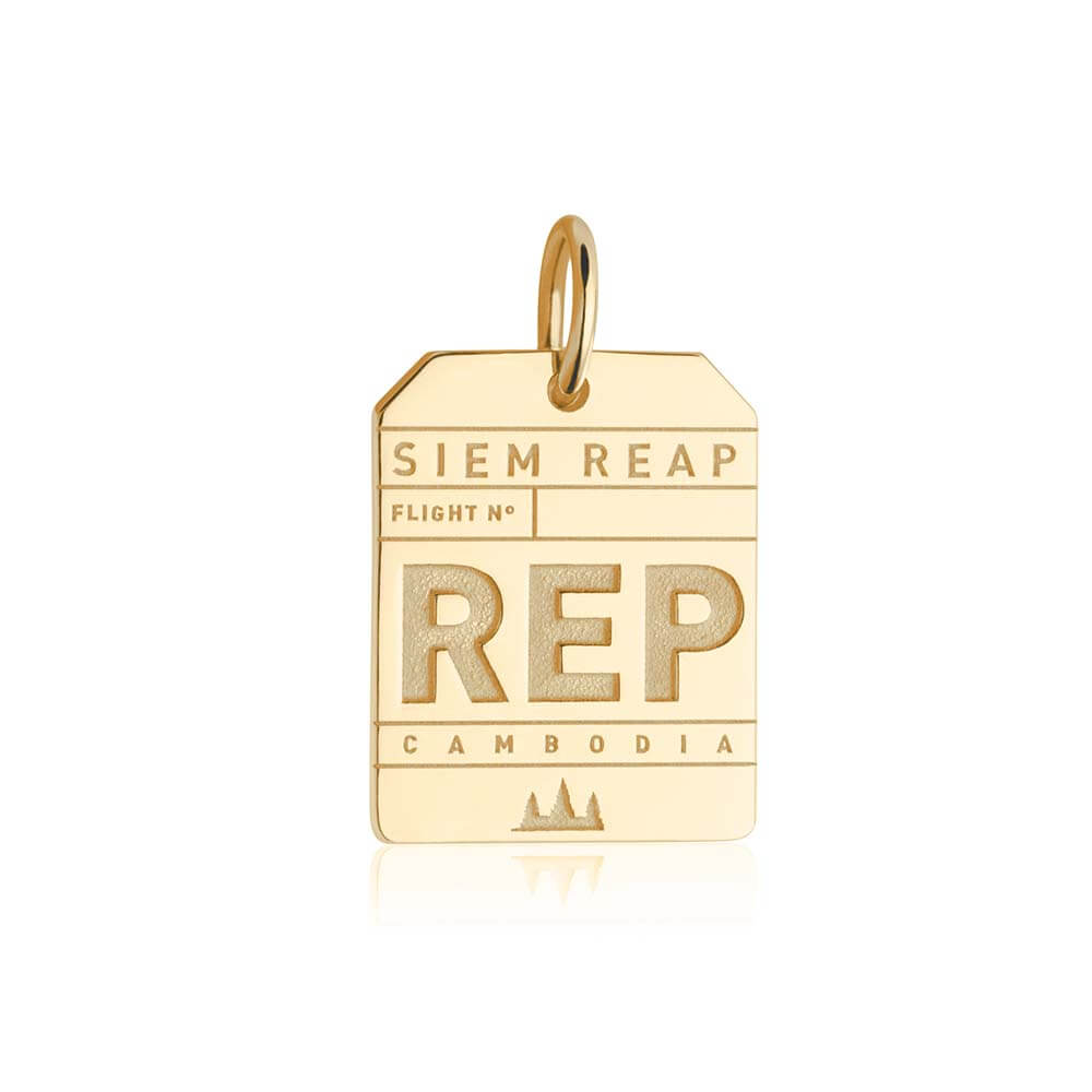Gold Asia Charm, REP Siem Reap Luggage Tag - JET SET CANDY
