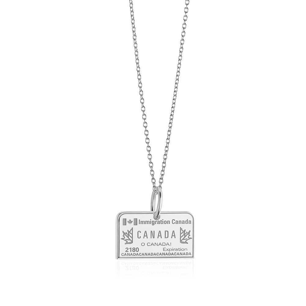 Sterling Silver Canada Charm, Passport Stamp - JET SET CANDY