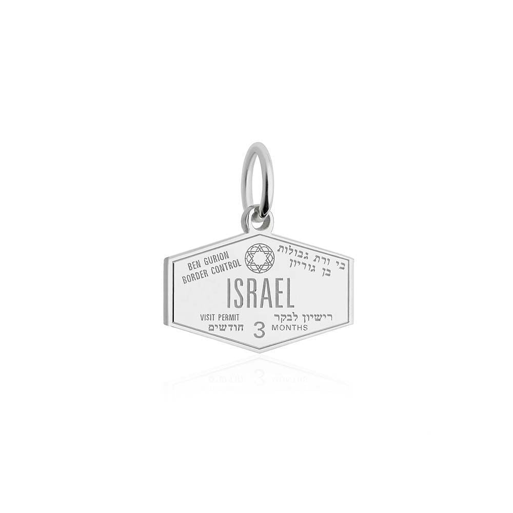 Silver Israel Charm, Passport Stamp - JET SET CANDY