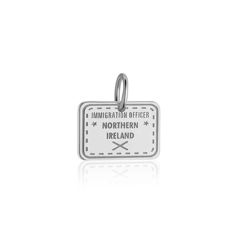 Sterling Silver Charm, Northern Ireland Passport Stamp - JET SET CANDY