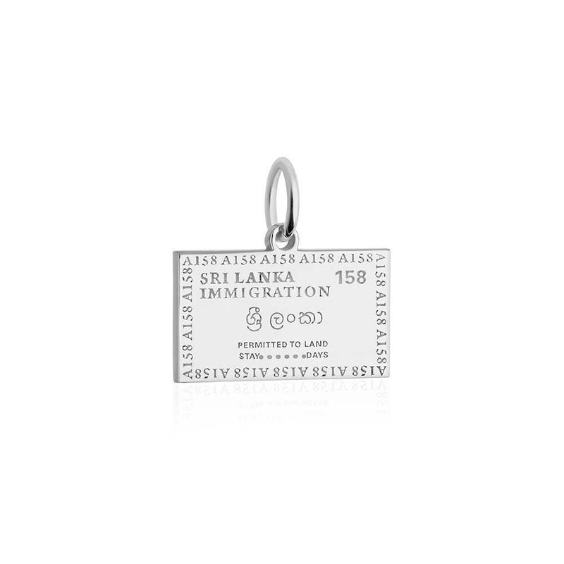 Sterling Silver Charm, Sri Lanka Passport Stamp - JET SET CANDY