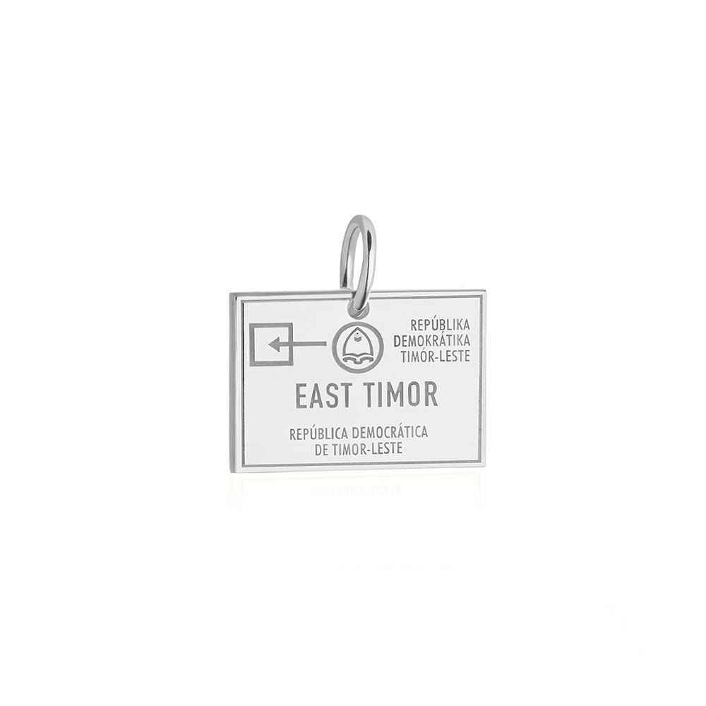 Sterling Silver Charm, Timor-Leste Passport Stamp (SHIPS JULY) - JET SET CANDY