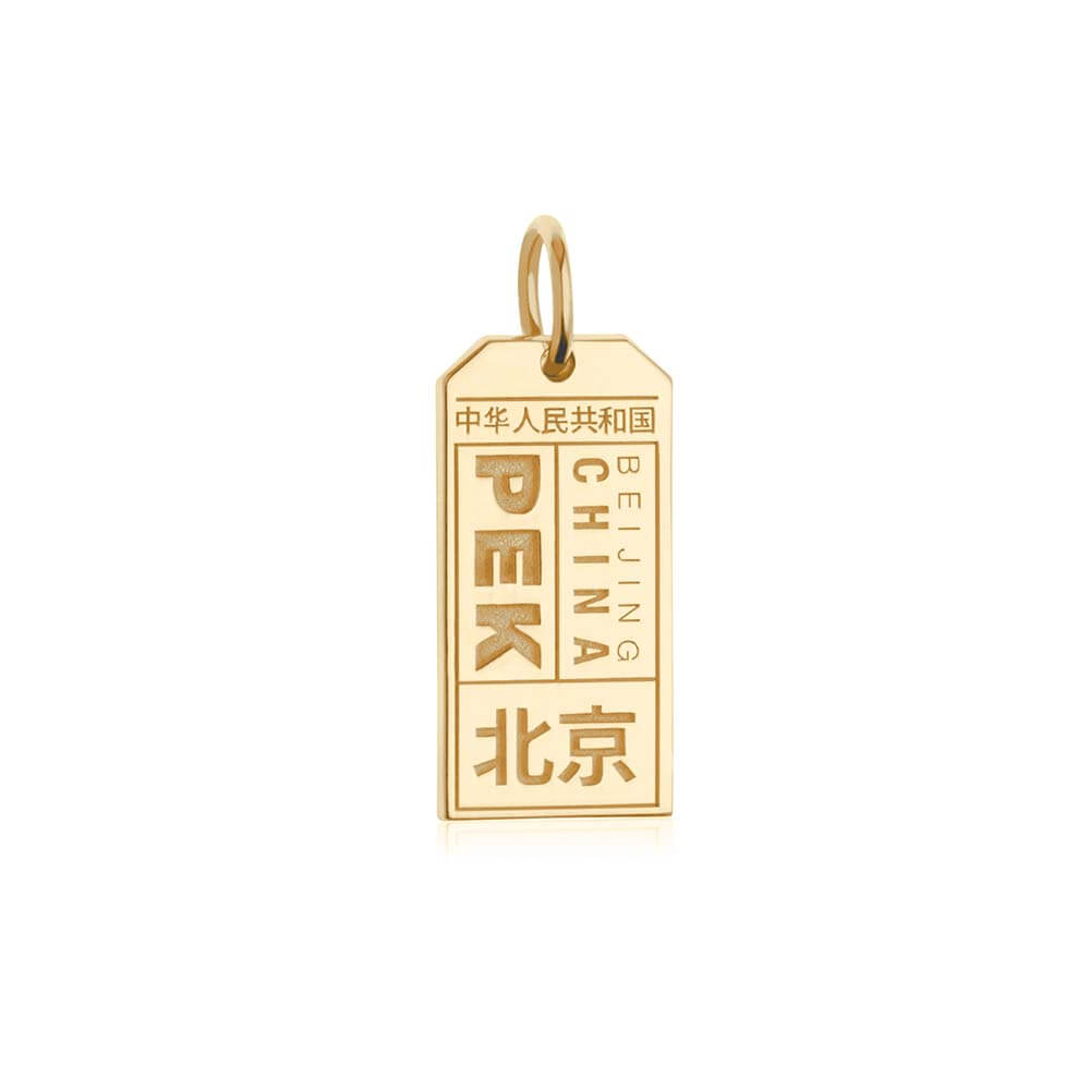 Gold China Charm, PEK Beijing Luggage Tag - JET SET CANDY