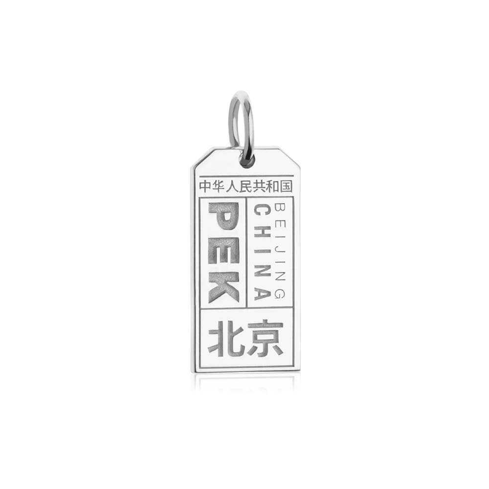 Silver China Charm, PEK Beijing Luggage Tag - JET SET CANDY