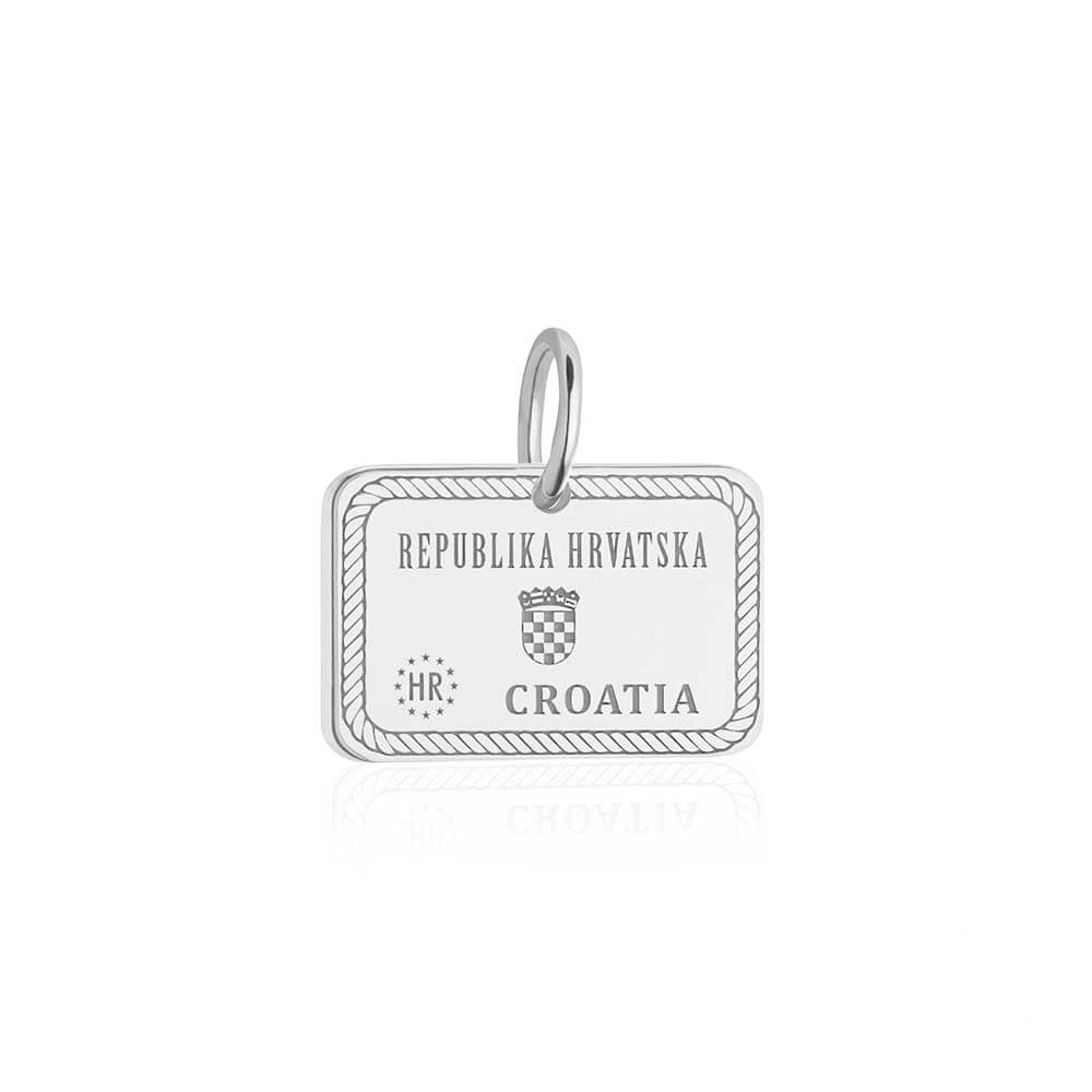 Sterling Silver Croatia Charm, Passport Stamp - JET SET CANDY