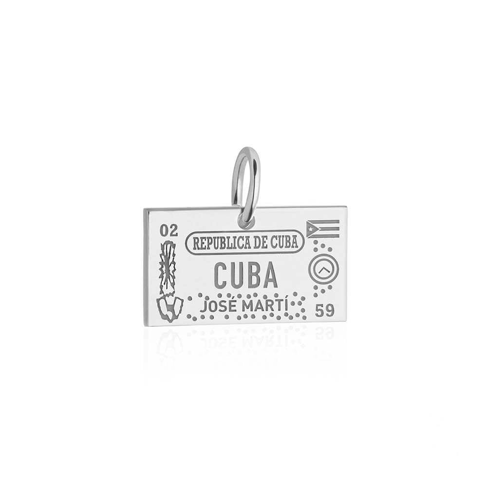 Sterling Silver Travel Charm, Cuba Passport Stamp - JET SET CANDY