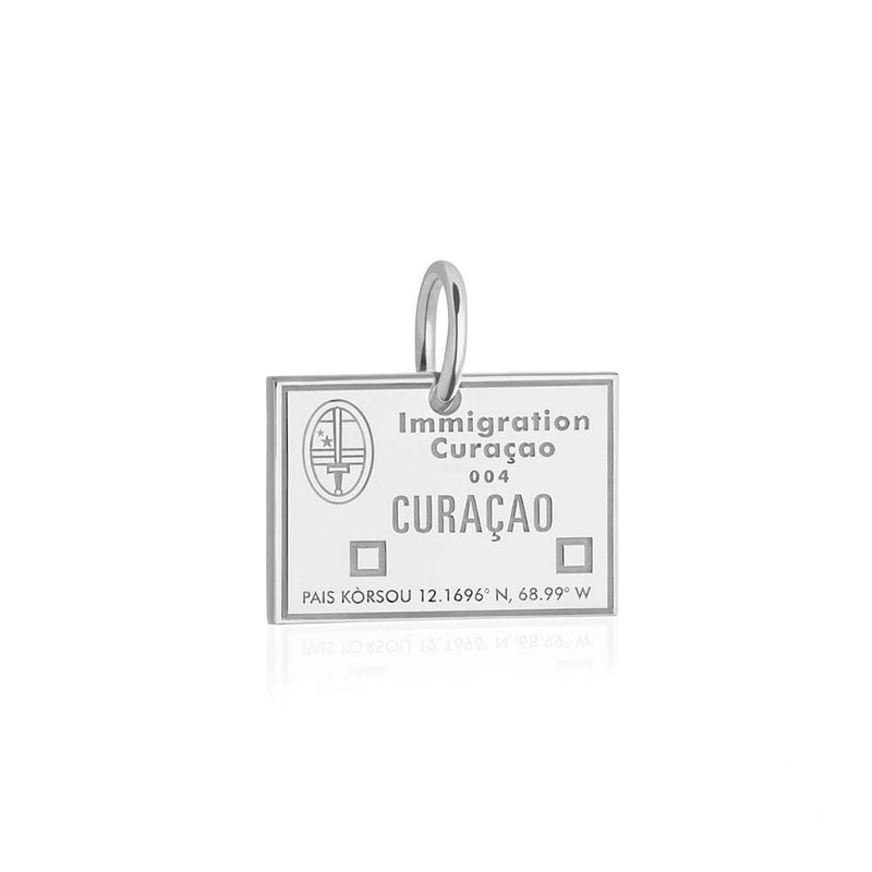 Sterling Silver Travel Charm, Curacao Passport Stamp - JET SET CANDY