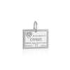 Sterling Silver Travel Charm, Cyprus Passport Stamp - JET SET CANDY