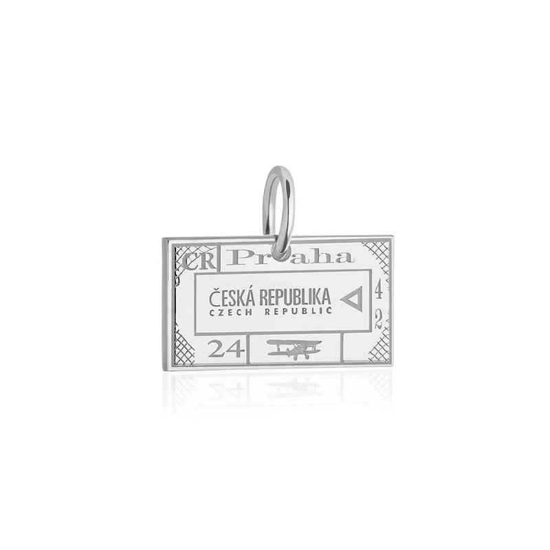 Sterling Silver Charm, Czech Republic Passport Stamp - JET SET CANDY