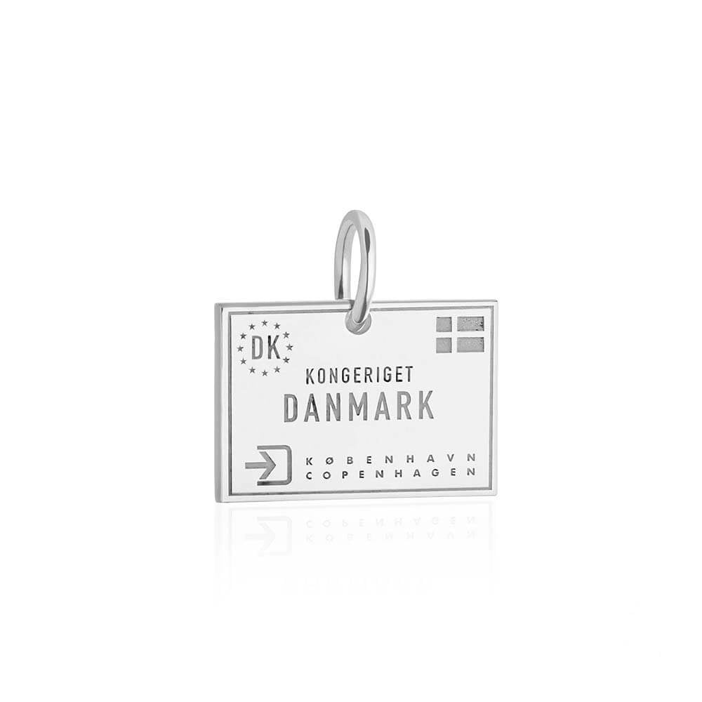Sterling Silver Travel Charm, Denmark Passport Stamp - JET SET CANDY