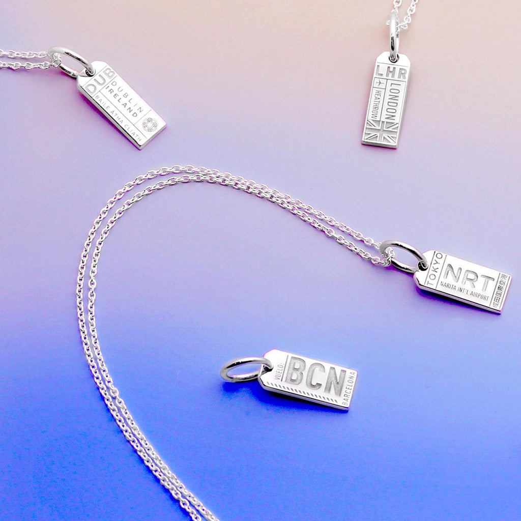 Mini Silver Dublin, Ireland Necklace, Luggage Tag Charm - JET SET CANDY
