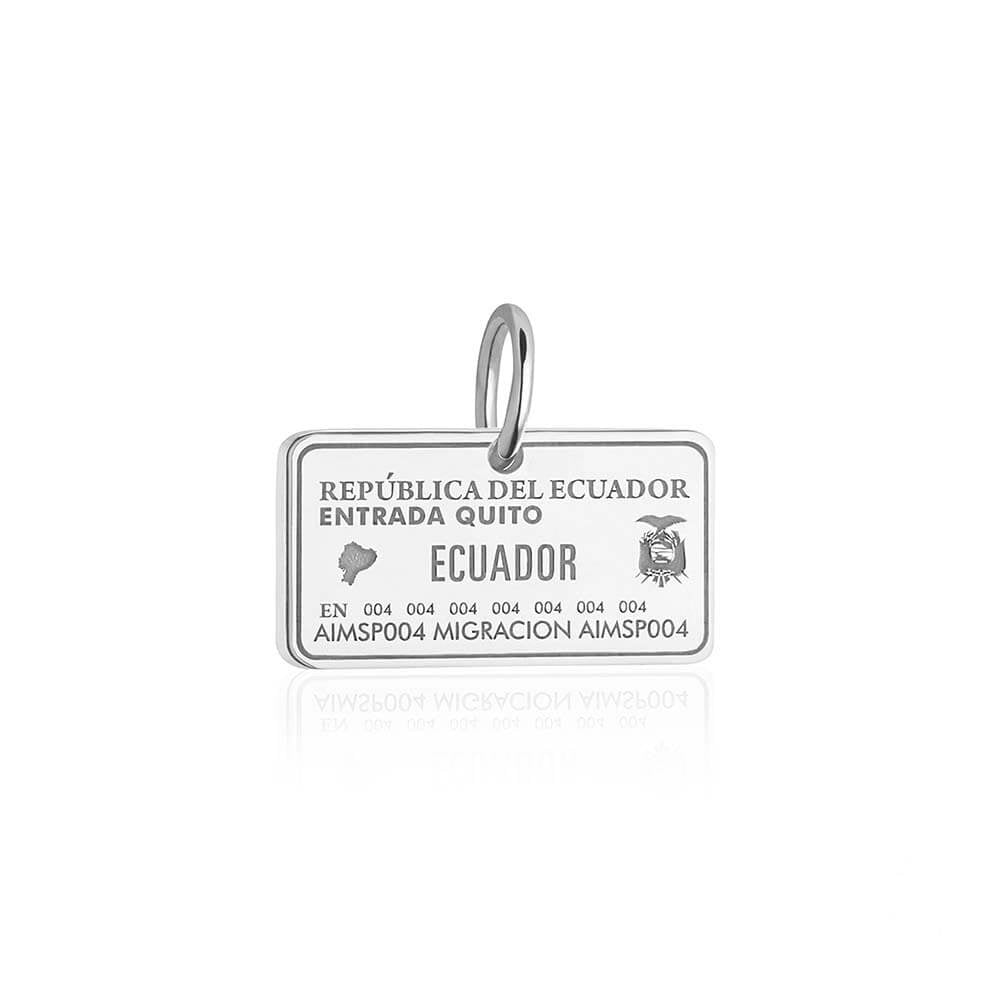 Sterling Silver Travel Charm, Ecuador Passport Stamp (SHIPS JUNE) - JET SET CANDY