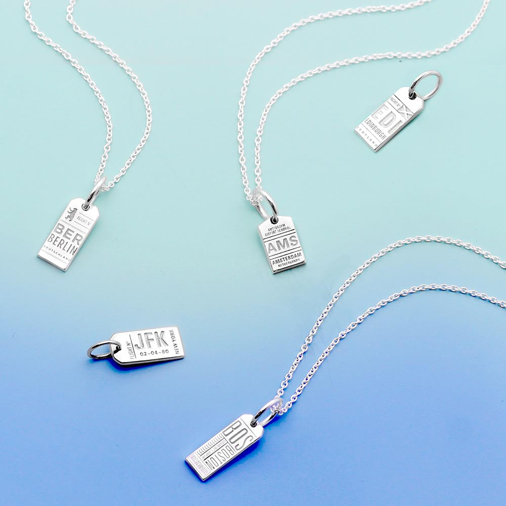 Silver Mini Edinburgh Necklace, Luggage Tag Charm - JET SET CANDY