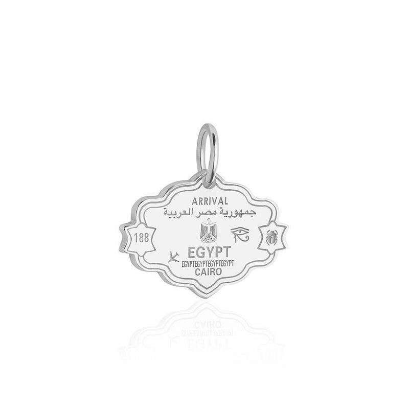 Sterling Silver Travel Charm, Egypt Passport Stamp (SHIPS JUNE) - JET SET CANDY