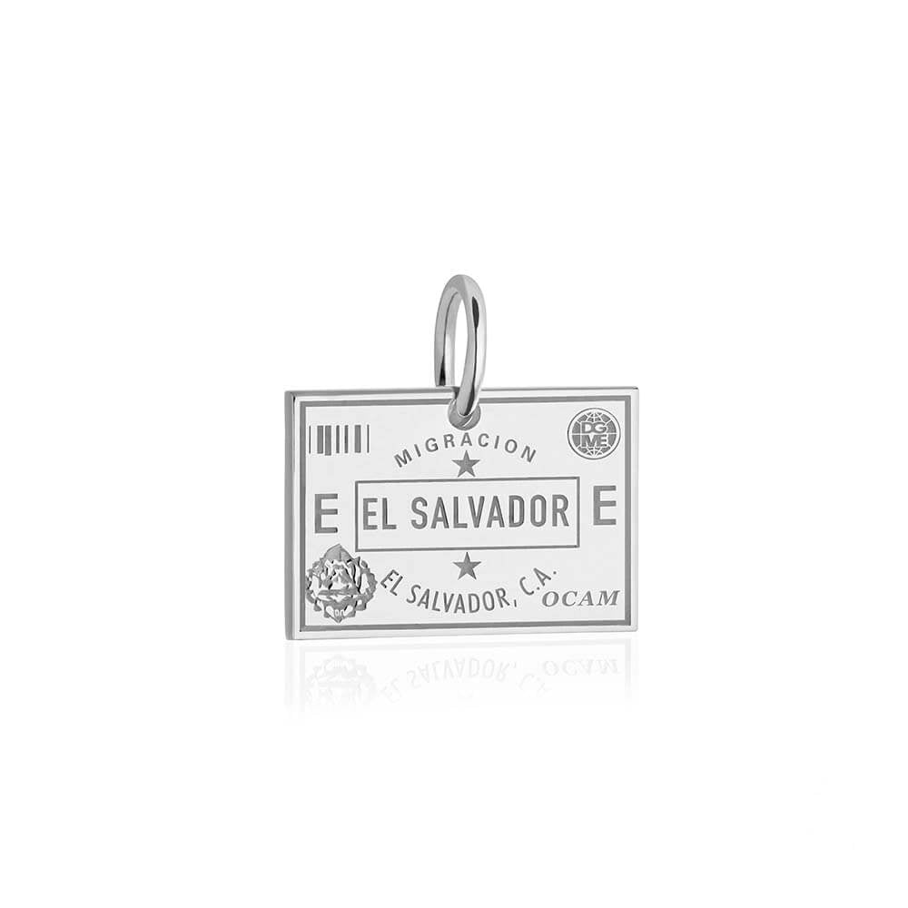 Sterling Silver Travel Charm, El Salvador Passport Stamp - JET SET CANDY