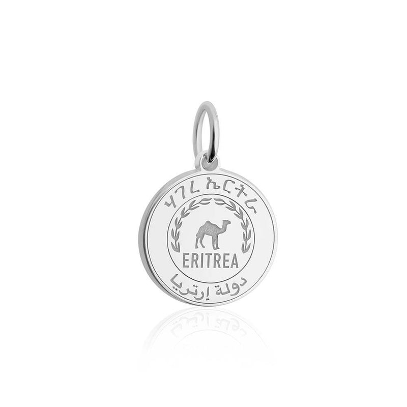 Sterling Silver Travel Charm, Eritrea Passport Stamp - JET SET CANDY