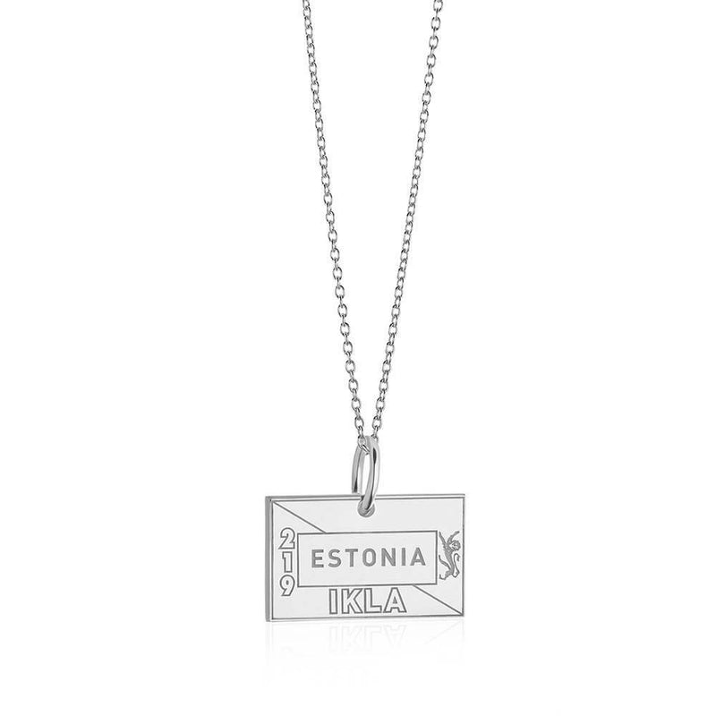 Sterling Silver Travel Charm, Estonia Passport Stamp (SHIPS JUNE) - JET SET CANDY