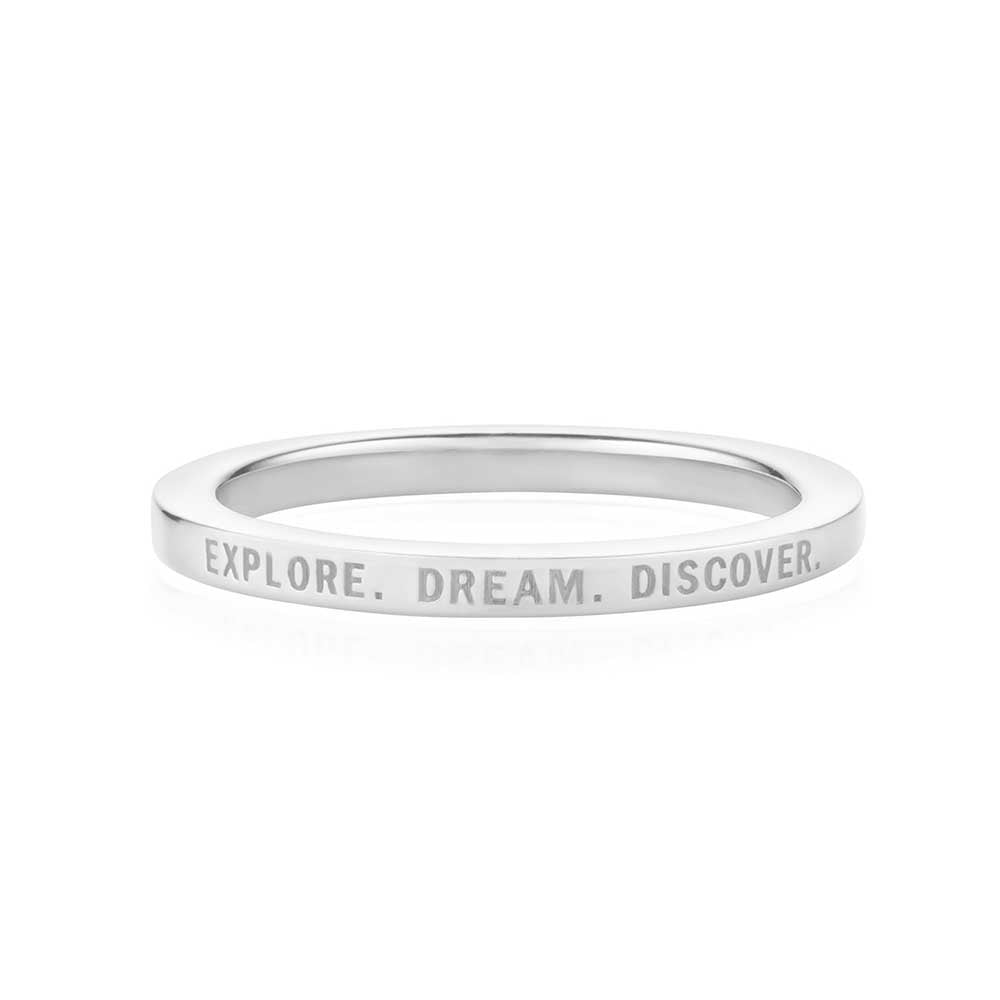 Silver Travel-Inspired Ring, Explore Dream Discover - JET SET CANDY